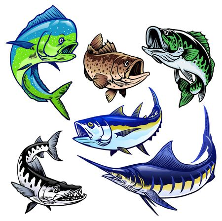 set bundle of saltwater fishing game Stock Illustratie