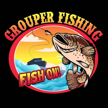 grouper fishing shirt design Stock Illustratie