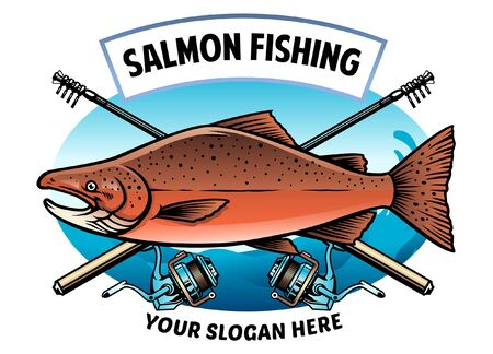shirt design salmon fishing Stock Illustratie