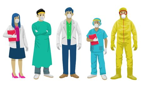 set collection of medical staff in flat style Ilustração