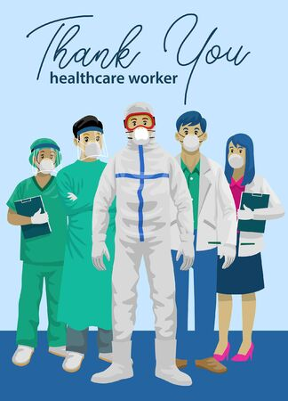 thanks greeting to all medical staff Stock Illustratie