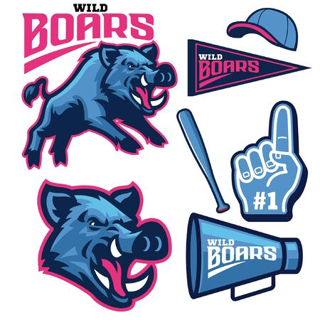 set bundle of sporty wild boar mascot collection