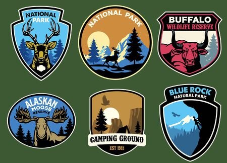 set collection of national park nature badge design