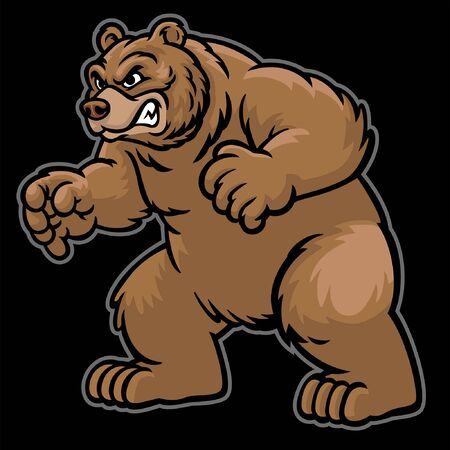 cartoon of grizzly bear mascot