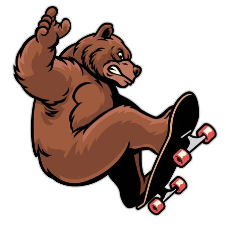 funny cartoon grizzly bear playing skateboard