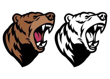 grizzly bear head mascot roaring Illustration