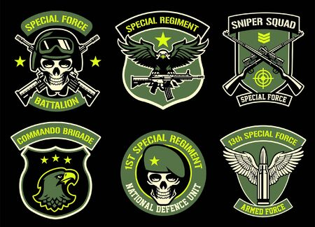 set badge of army military badge collection Illustration