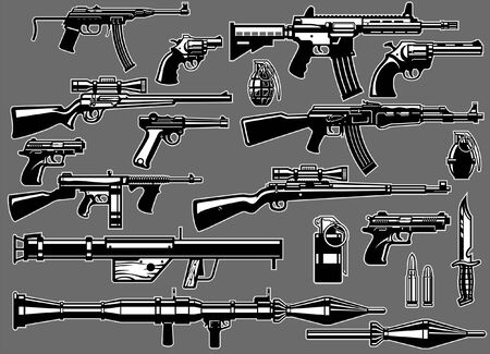 set collection of military guns