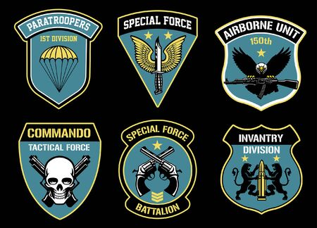 set bundle of military badges Иллюстрация