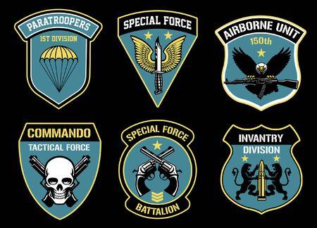 set bundle of military badges Illustration