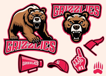 set of sporty athletic grizzly bear mascot Ilustração