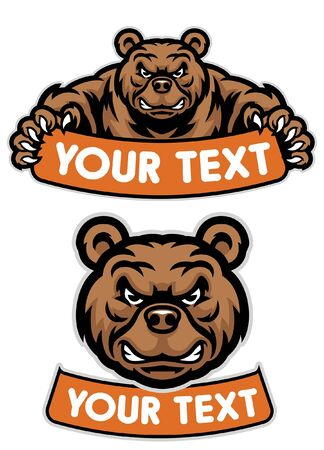set of grizzly bear mascot Illustration