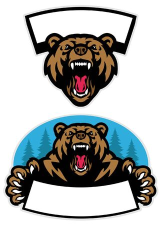 set of roaring grizzly bear mascot Vettoriali