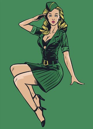 vintage vector illustration of pinup army girl Иллюстрация