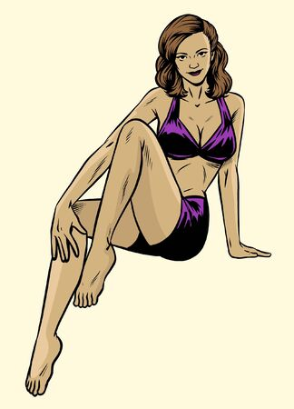 pinup girl wearing swimsuit pose in vintage vector illustration