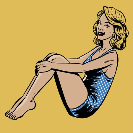 sexy vintage vector illustration of pin up girl
