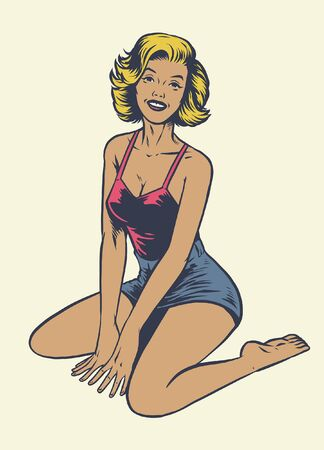 vintage vector illustration of sexy pinup girl wearing swimsuit