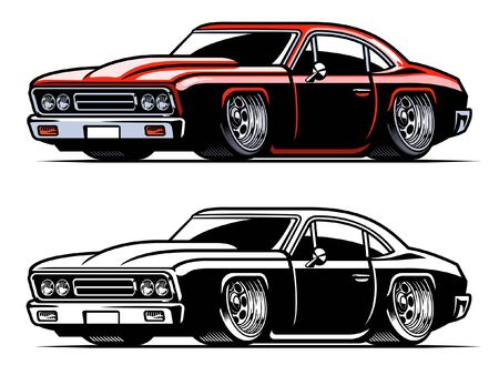 vector set of american muscle car Иллюстрация