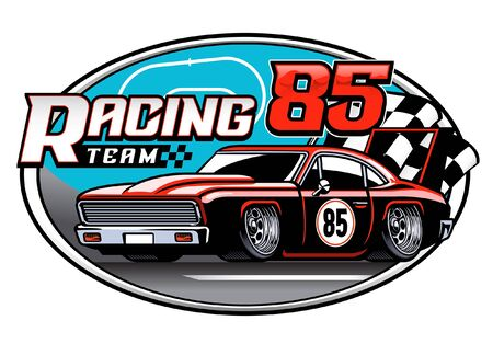 vintage old american muscle racing car