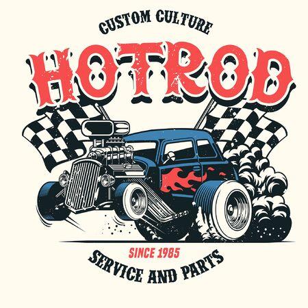 vintage grunge shirt design of american hotrod car Illustration