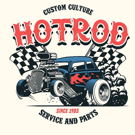 vintage grunge shirt design of american hotrod car Иллюстрация
