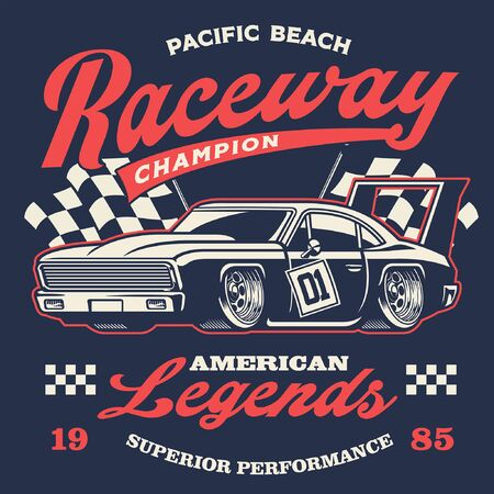 retro vintage design of american muscle race car Иллюстрация
