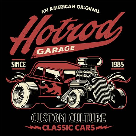 vintage design of american hotrod car Иллюстрация