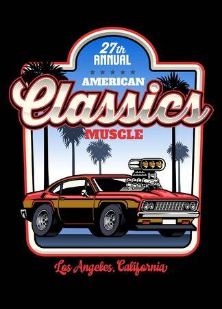 vintage design of american muscle car style Banco de Imagens - 148125426