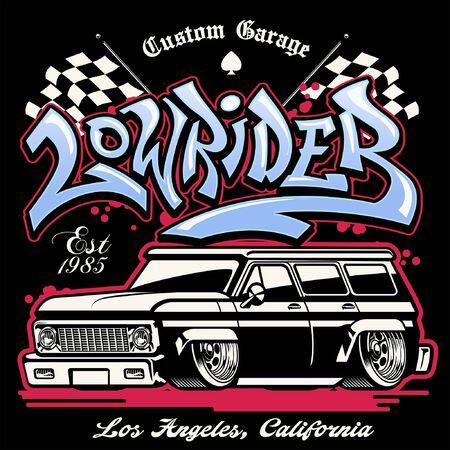 shirt design of vintage american lowrider pick up truck Illustration