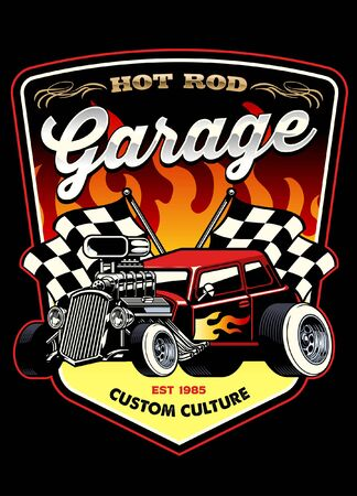 shirt design of vintage old hotrod car