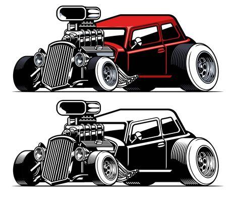 american vintage hotrod car Illustration