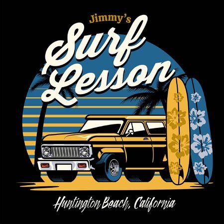 vintage shirt design of truck on the surf beach Illustration