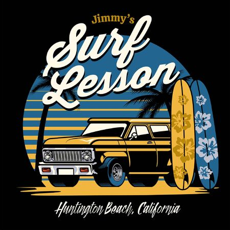 vintage shirt design of truck on the surf beach Ilustração