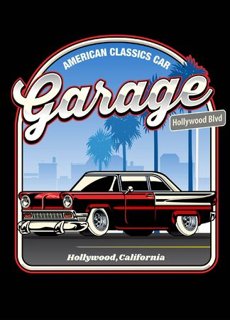 vintage shirt design of american classic car Иллюстрация
