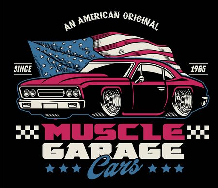 vintage retro shirt design of american muscle car Иллюстрация