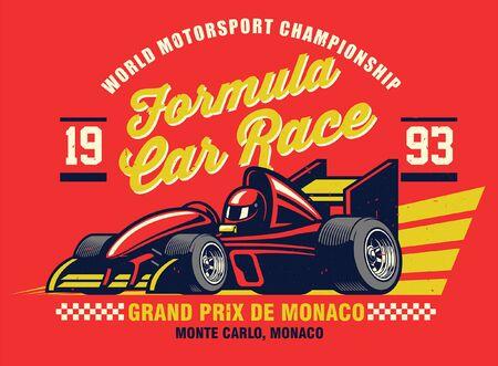 vintage retro shirt design of formula car race