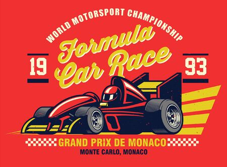 vintage retro shirt design of formula car race