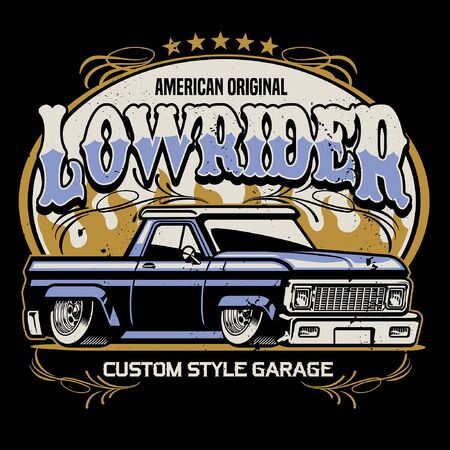 vintage shirt design of lowrider pickup truck