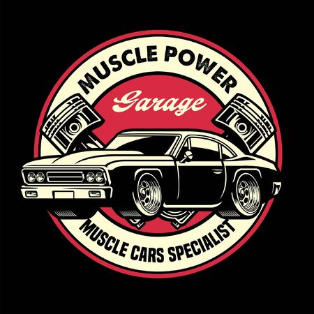 vintage shirt design of american muscle car Banco de Imagens - 148125461