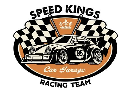 vintage shirt design of retro racing car