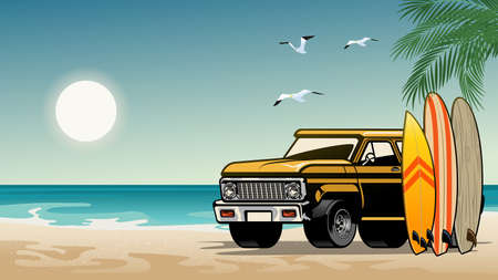 old classic suv car on the surf beach Ilustrace