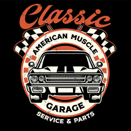 vintage shirt design of american muscle garage