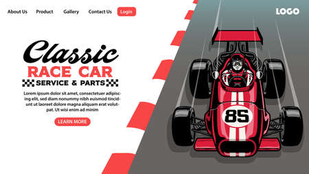 landing page design of classic race car garage business