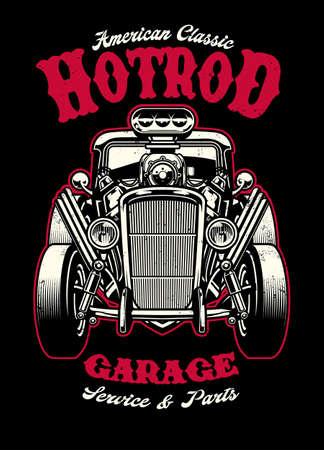 vintage shirt design of hotrod car with big engine