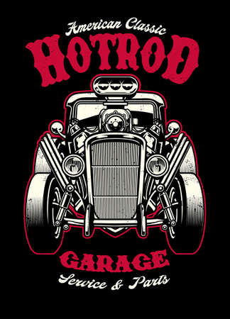 vintage shirt design of hotrod car with big engine