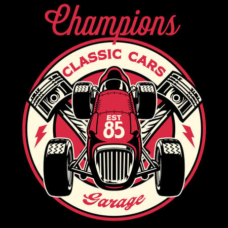 vintage shirt design of retro old racing formula car