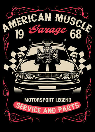vintage muscle car with big super charger engine Ilustrace