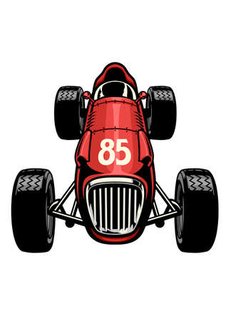 old vintage formula car racing Ilustrace