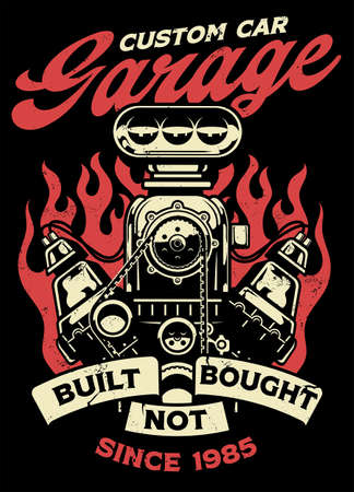 vintage shirt design of custom car garage with big muscle car engine