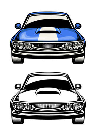 vector of front side view of muscle car